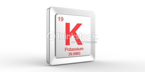 K Symbol 19 Material For Potassium Chemical Element Stock Photo
