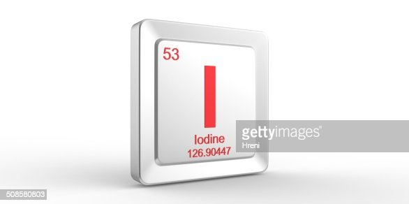I symbol 53 material for Iodine chemical element : Stock Photo