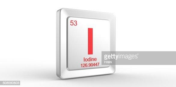 I symbol 53 material for Iodine chemical element : Bildbanksbilder