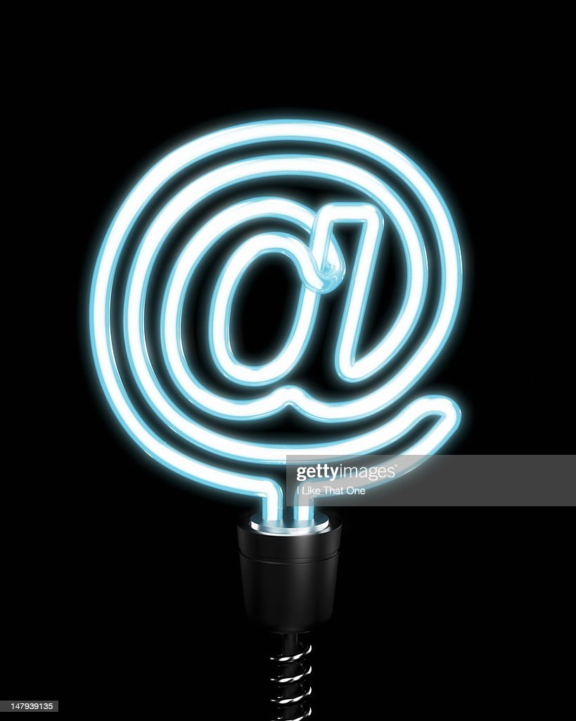 @ symbol blue glowing energy saving lightbulb : Stock Photo