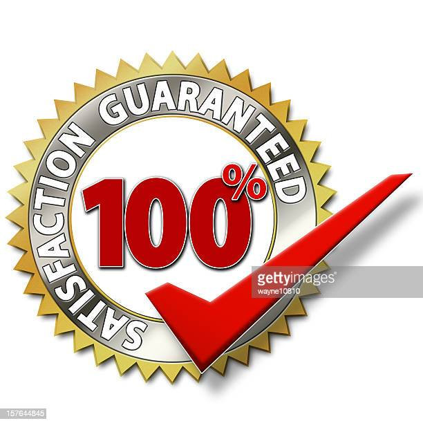 Symbol certifying 100% satisfaction is guaranteed