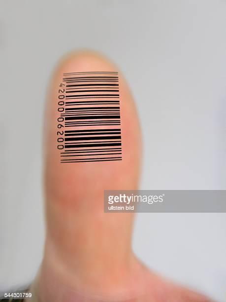 Symbol digitaler Fingerabdruck Daumen mit Barcode