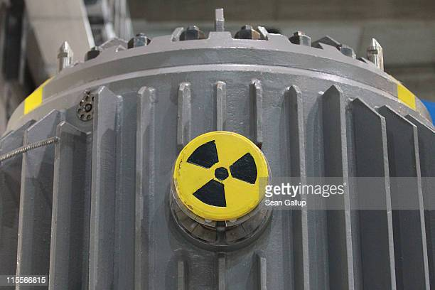A symbol for radioactivity is visible on a radioactivelycontaminated container once used to transport nuclear fuel rods at the nearby Greifswald...