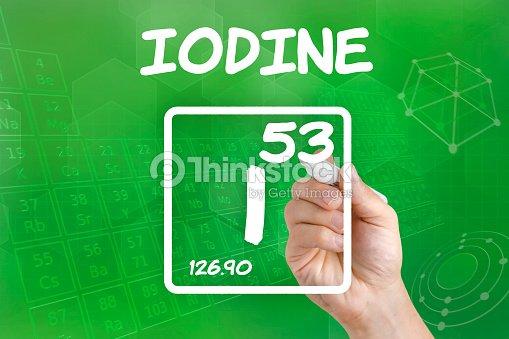 Symbol For The Chemical Element Iodine Stock Photo Thinkstock