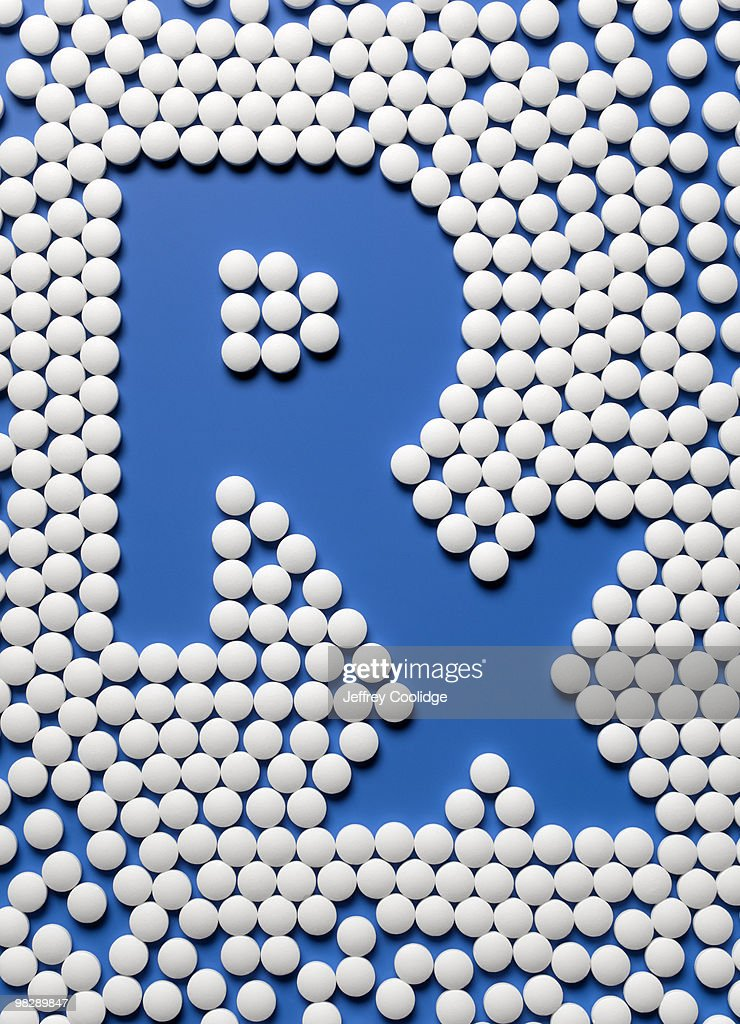 RX symbol made with pills : Stock Photo
