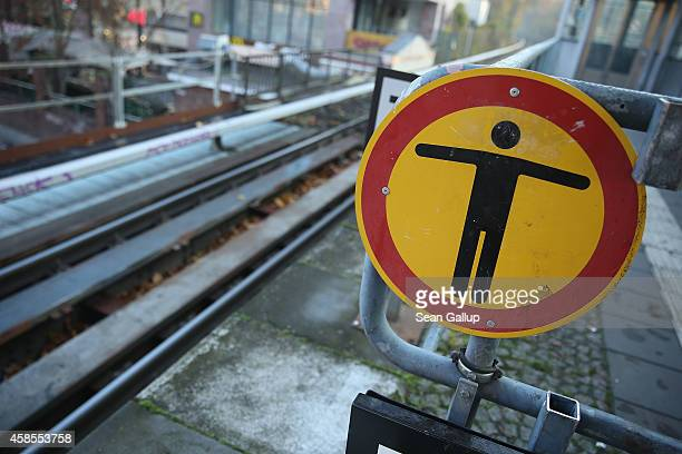 A symbol marks no entry to a restricted area at an SBahn commuter train station on the second day of a fourday strike by the GDL train drivers labor...