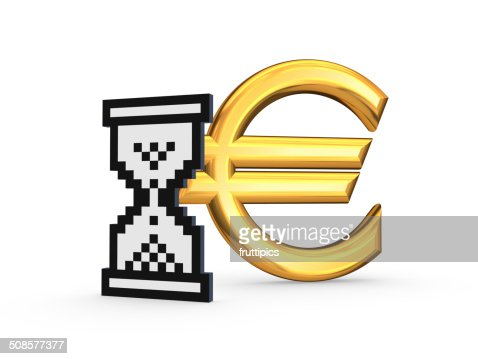 Symbol of euro and sandglass icon. : Bildbanksbilder