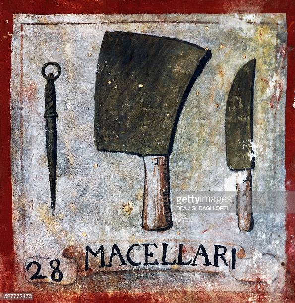 Symbol of Macellari from the Symbols of the arts and crafts of the city of Orvieto parchment Italy 17th century Orvieto Museo Claudio Faina