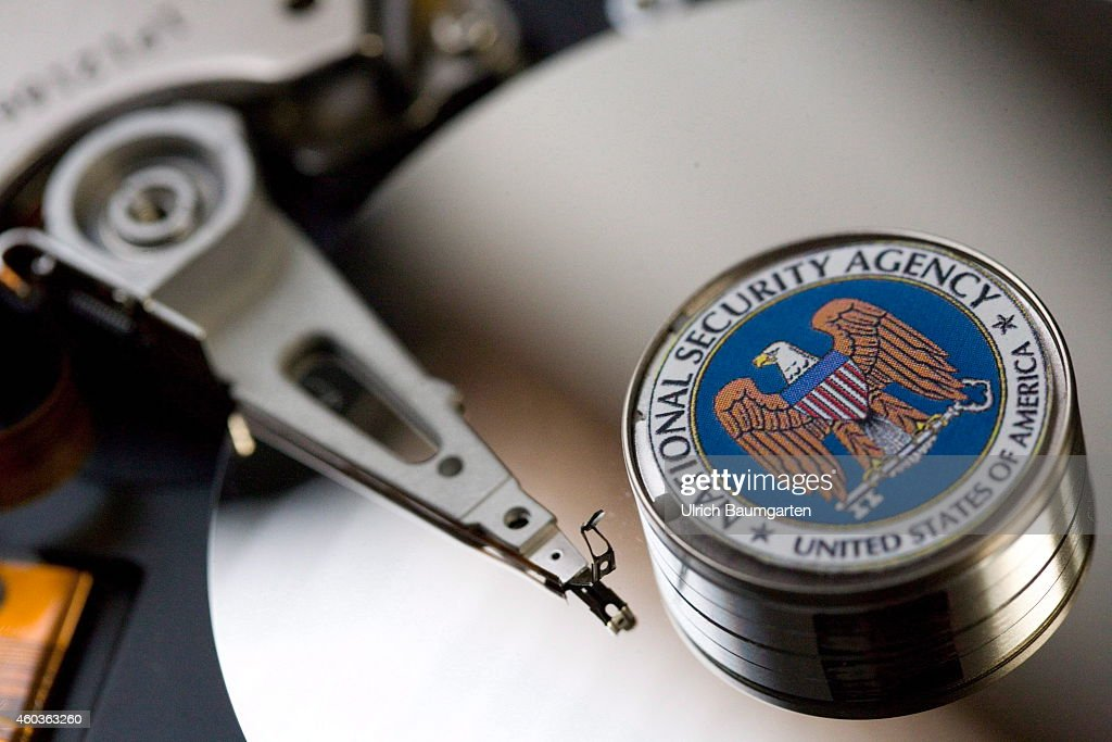 Symbol photo of a computer hard drive with the logo of the National Security Agency on December 12 2014 in Bonn Germany