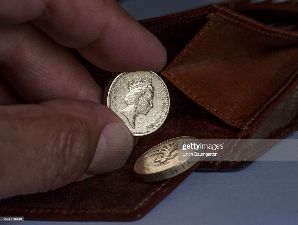 Symbol photo on the subjects Brexit, British Pounds Sterling, Dollar, financel market, stock exchange, etc. The photo shows a wallet with a British 1 Pounds coin (front and back side).