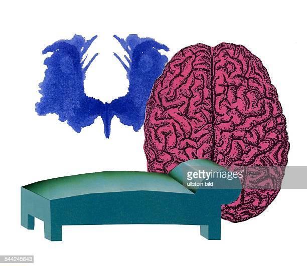 Symbol Psychologie Psychoanalyse Psychotherapie Sofa KlecksTest und Gehirn
