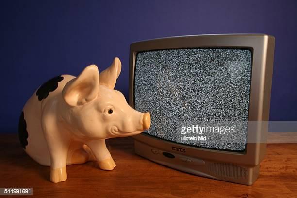 Symbol Schwarzseher Sparschwein und leerer Bildschirm