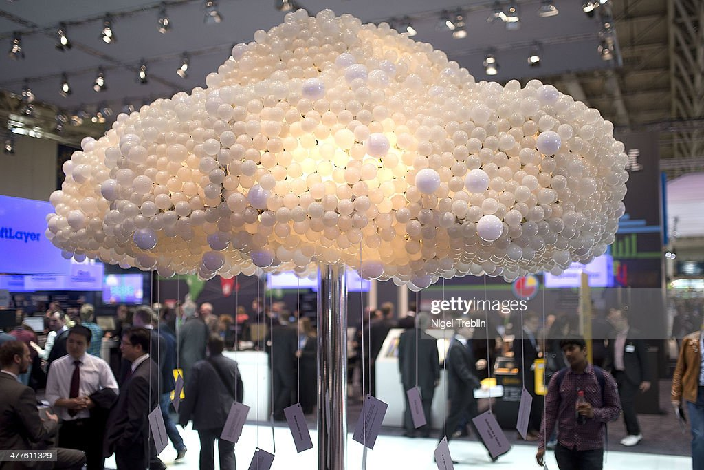 A symbolic data cloud is seen at the IBM stand at the 2014 CeBIT technology Trade fair on March 10, 2014 in Hanover, Germany. CeBIT is the world's largest technology fair and this year's partner nation is Great Britain.