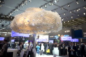 A symbolic data cloud is seen at the IBM stand at the 2014 CeBIT technology Trade fair on March 10 2014 in Hanover Germany CeBIT is the world's...