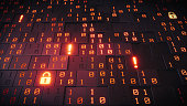 A close up on an artificial structure made out of cubes with glowing binary numbers, padlocks and exclamation marks.