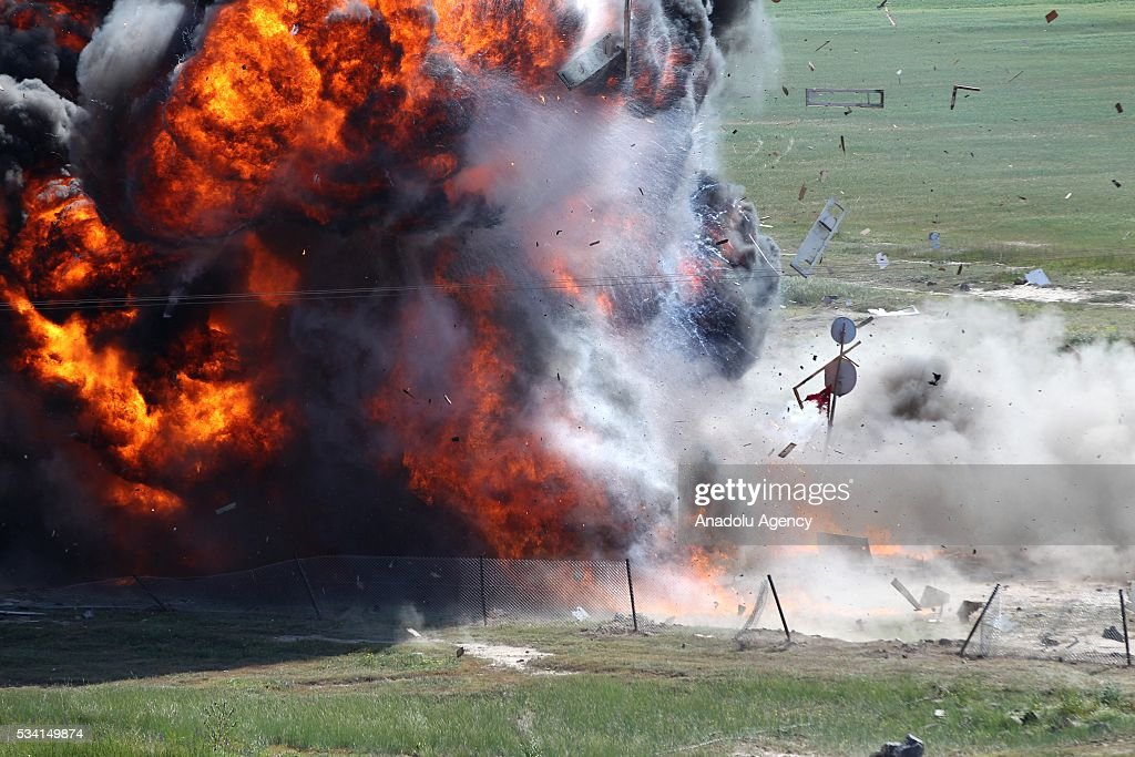 Symbolic enemy communications centre is destroyed by commandos during Erciyes-2016 Airborne Exercise of Battalion Task Force held by 1st. Commando Brigade Command in Kayseri, Turkey on May 25, 2016.