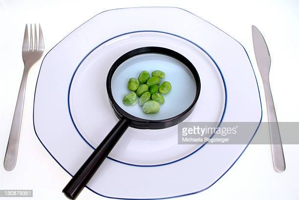 Symbolic for diet, soy beans under loupe