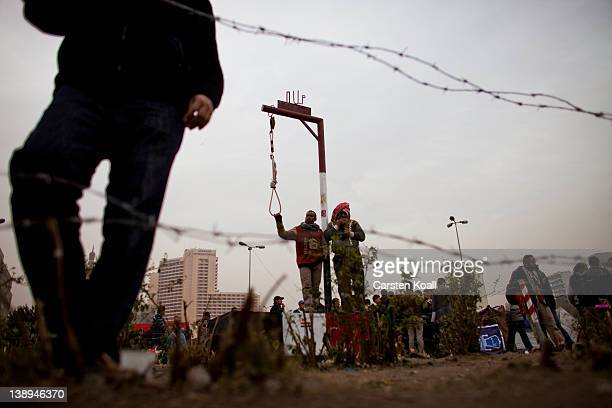 A symbolic gallows standing in the middle in Tahrir Square on February 14 2012 in Cairo Egypt In times of revolution Egypt's tourism has lost 30...