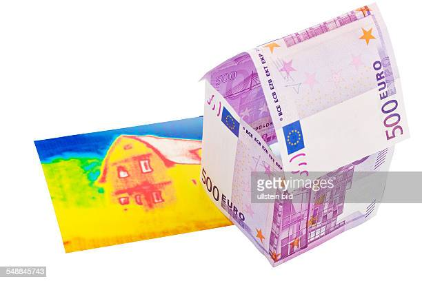 symbolic photo energy costs thermal insulation house made of 500 Eoro banknotes and infrared photo