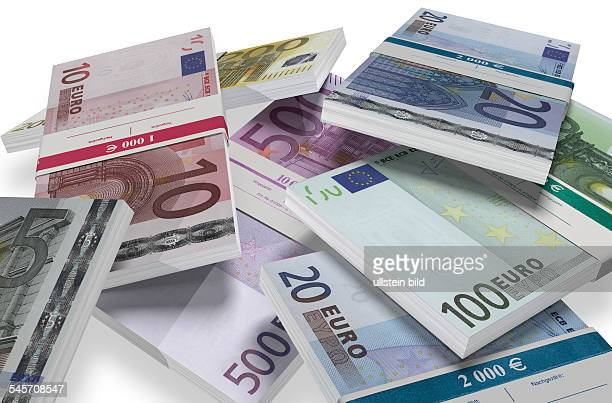 symbolic photo money financial aid taxes currency Euro banknotes with banderole