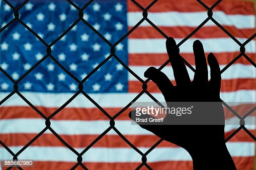 A symbolic representation of immigrants and the united states of america : Stock Photo