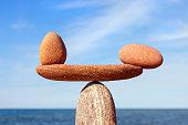 Symbolic scale of the stones on sea background closeup. Concept of harmony and balance. work-life, emotional balance