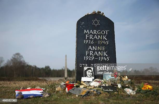 A symbolic tombstone commemorates Anne Frank and her sister Margot on the site of the former BergenBelsen concentration camp on March 17 2015 in...