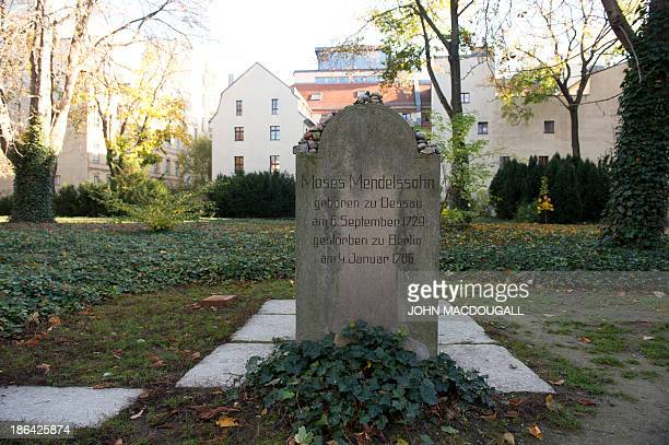 A symbolic tombstone in honour of German philosopher Moses Mendelssohn is on display October 31 2013 where Berlin's oldest Jewish cemetery used to be...