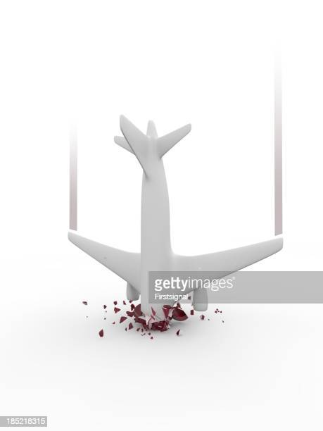 Symbolized airplane crash on white background