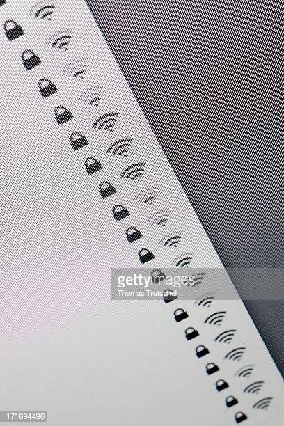 Symbols for secure Wifi networks photographed from a computer monitor screen on June 11 2013 in Berlin Germany