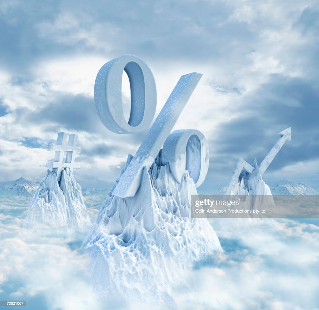 Symbols on snowy mountaintops : Stock Photo