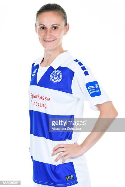 Symela Ciesielska of MSV Duisburg poses during the Allianz Frauen Bundesliga Club Tour at MSV Duisburg on August 17 2017 in Duisburg Germany