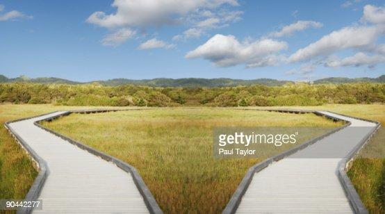 Symmetrical boardwalk in landscape : Stock Photo