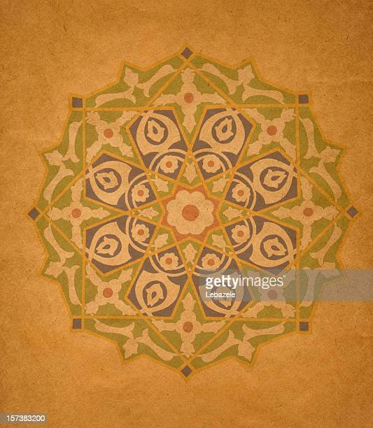 Symmetrical circular geometric shapes on vintage background