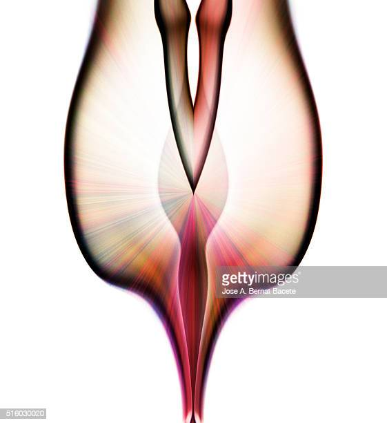 Symmetrical figures of smoke of light  red and pink color on a white blackground