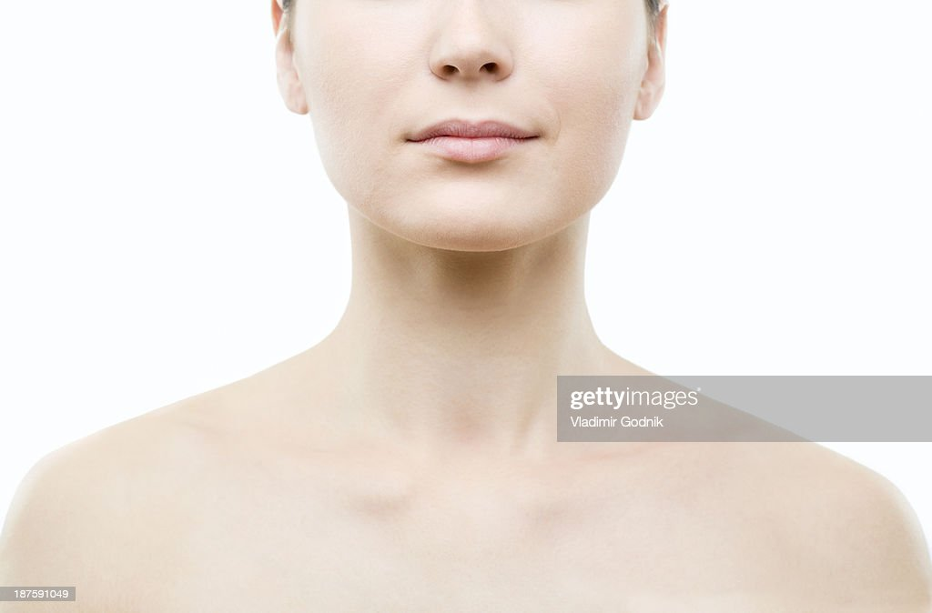 Symmetrical shot of woman's shoulders and head