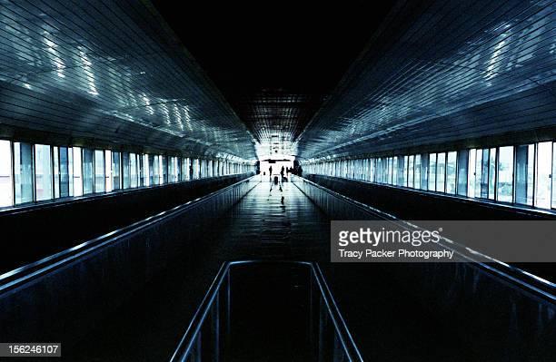 A symmetrical view along an urban walkway.