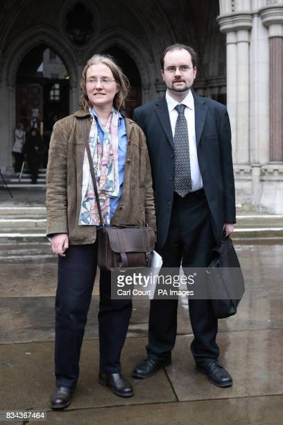 Symon Hill media coordinator for the Campaign Against Arms Trade and Sarah Sexton Cornerhouse representative outside the High Court after CAAT won...