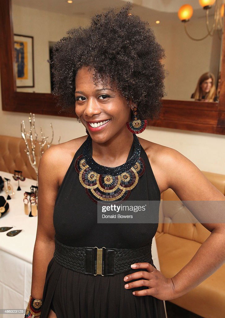 Symone Rosette attends Fernanda Capobianco and Amanda Hearst's reception to unveil cruelty-free accessory line, The New Yorker Collection at FP Patisserie on April 23, 2014 in New York City.