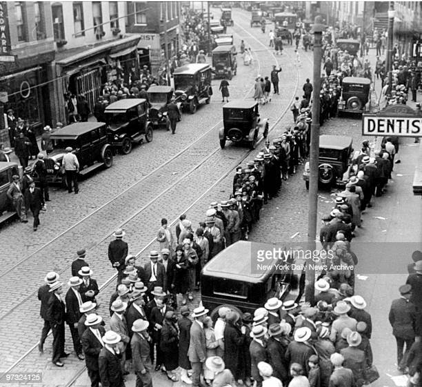 Sympathizers outside Boston funeral parlor where the remains of Nicola Sacco and Bartolomeo Vanzetti lie