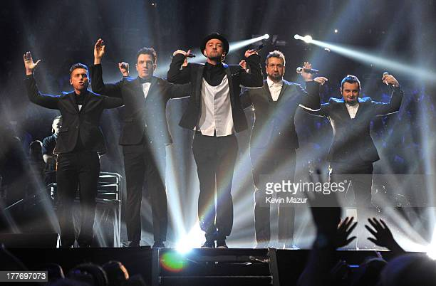 'N Sync performs during the 2013 MTV Video Music Awards at the Barclays Center on August 25 2013 in the Brooklyn borough of New York City