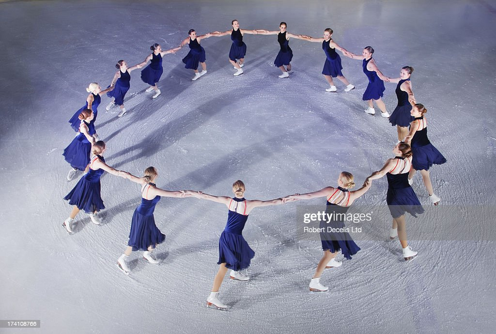 Synchro skating team perfoming routine.