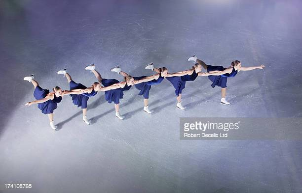 Synchro team performing in a line.
