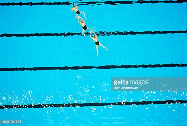 Synchronised swimming in pool, aerial view
