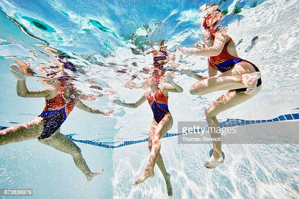 Synchronized swimmers treading water