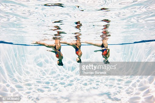 Synchronized swimmers underwater while performing