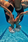 Synchronized swimmers upside down
