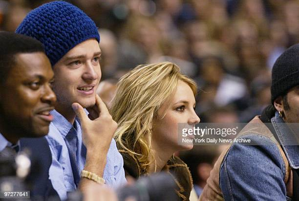 'N Sync's Justin Timberlake and girlfriend Britney Spears take in first half action at NBA All Star game in Philadelphia