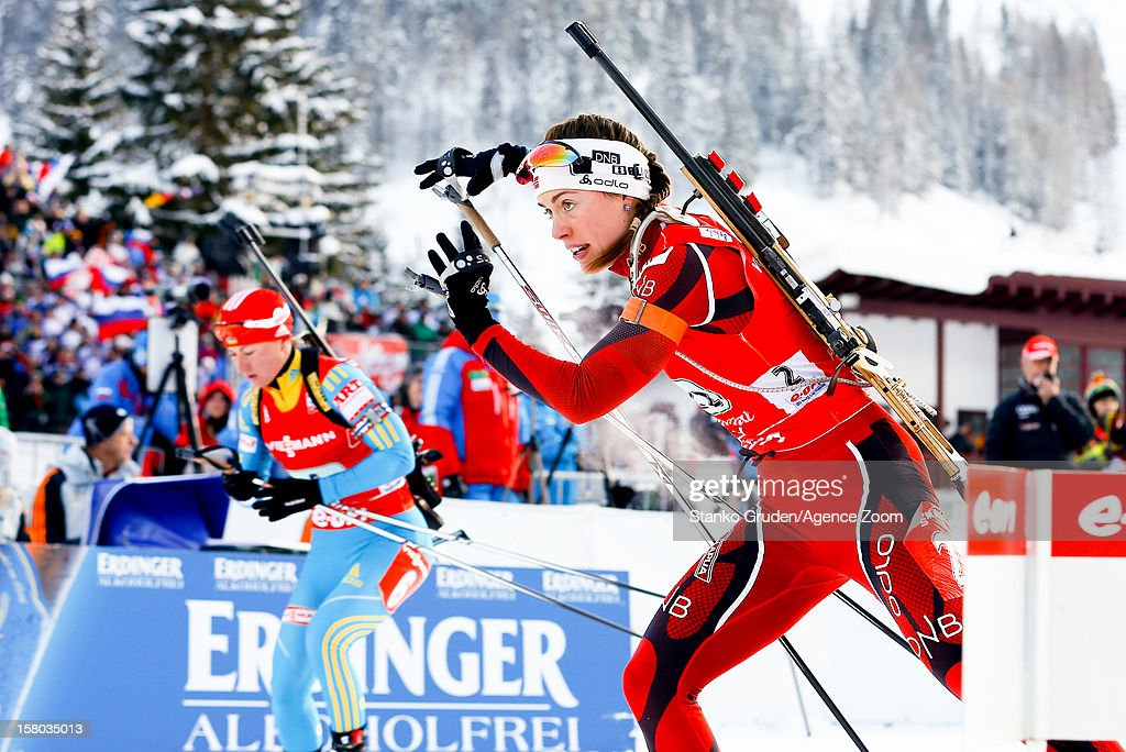 Synnoeve Solemda of Norway takes 1st place during the IBU Biathlon World Cup Women's Relay on December 09, 2012 in Hochfilzen, Austria.