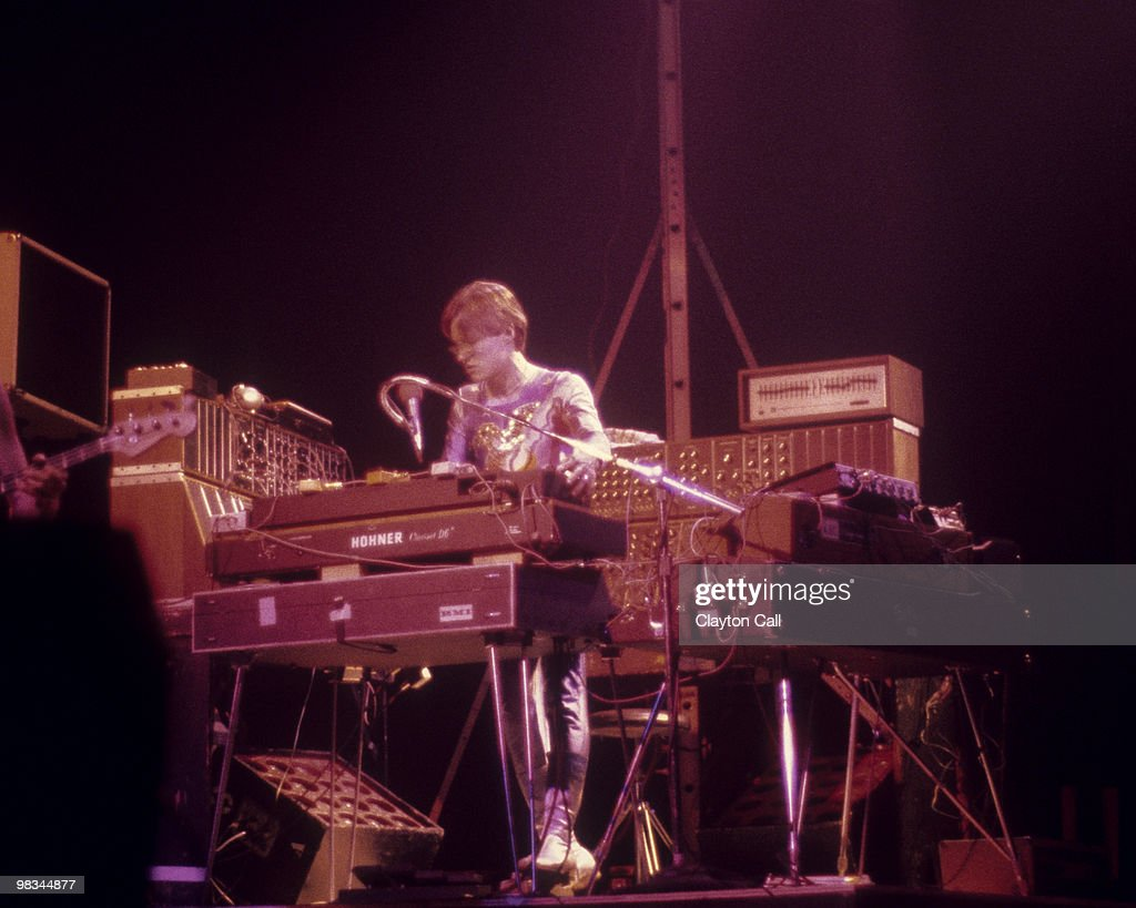 Synthesizer player Roger Powell playing a Hohner Clavinet keyboard while performing with Utopia at the Beacon Theater in New York City on December 14, 1975.